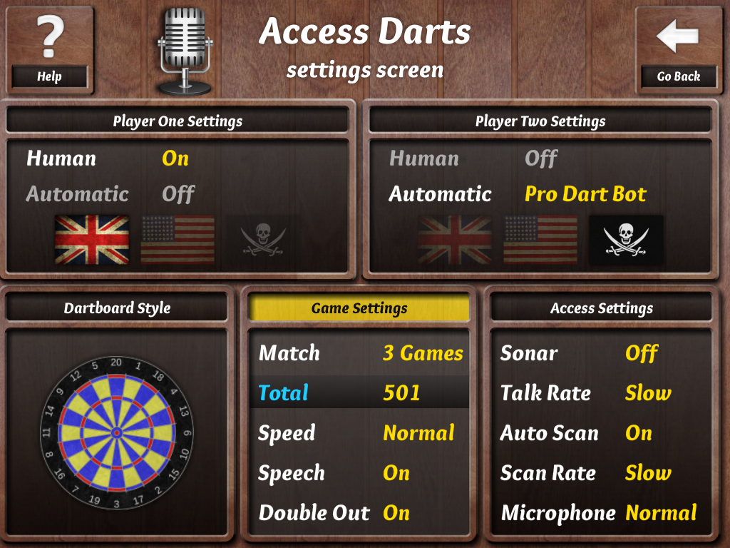 Access Darts Settings Page [Screen Grab]